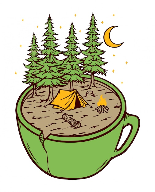 Ilustracja Camping I Puchar Premium Wektorów