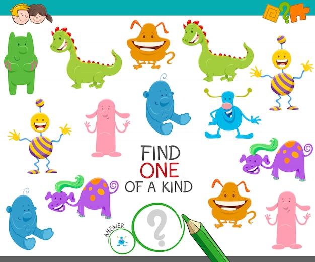 Ilustracja Cartoon One Of A Kind Picture Game Premium Wektorów