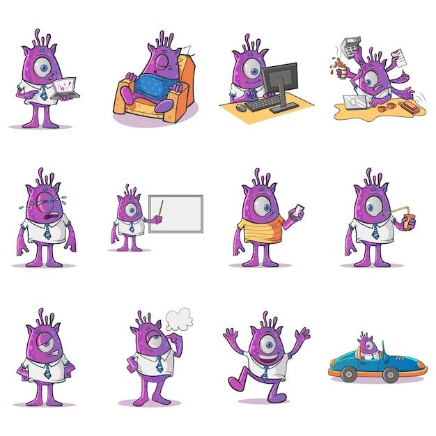 Ilustracja cartoon profesjonalny zestaw potworów Premium Wektorów