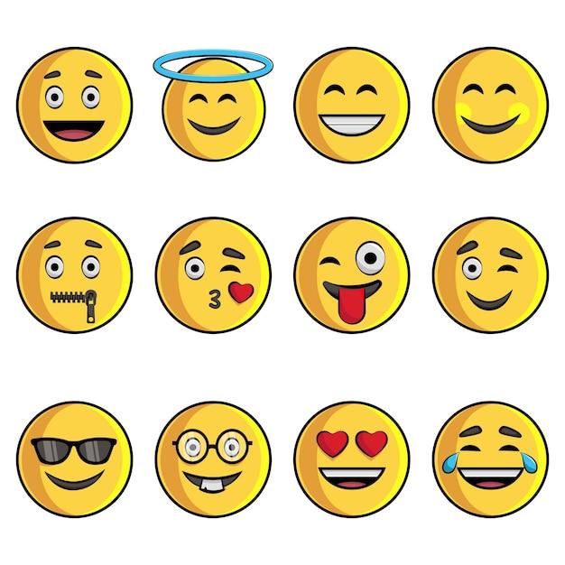 Ilustracja cartoon zestaw emoji. Premium Wektorów