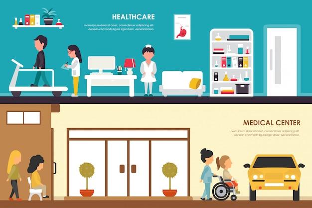 Ilustracja Centrum Opieki Zdrowotnej I Medycznej. Pogotowie Ratunkowe, Nagły Wypadek, Laboratorium, Medycyna Premium Wektorów