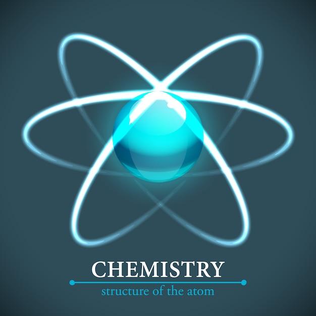 Ilustracja Chemii Cząsteczki Ze Strukturą Atomu Darmowych Wektorów