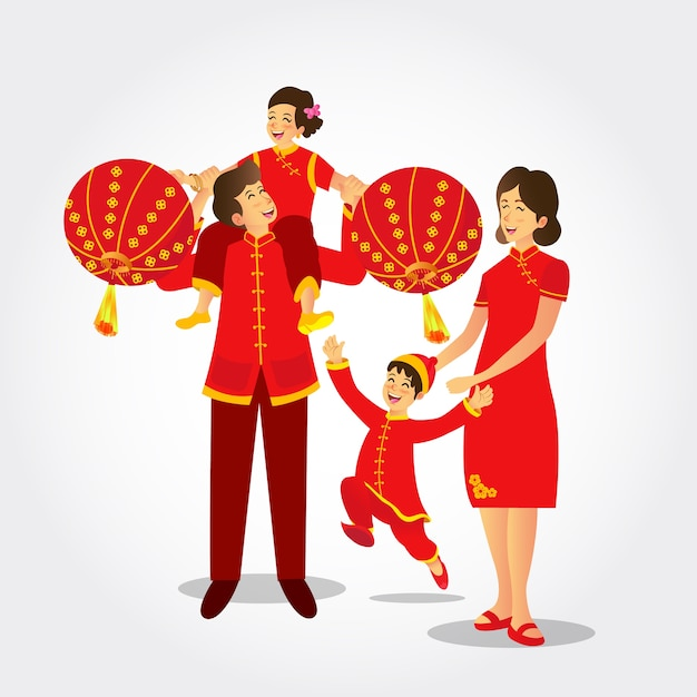Ilustracja Chińska Rodzina W Strojach Ludowych Gra W Chińskie Lampiony świętuje Chiński Nowy Rok Premium Wektorów