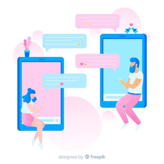 Ilustracja chłopiec i dziewczynka za pomocą aplikacji randkowej Darmowych Wektorów