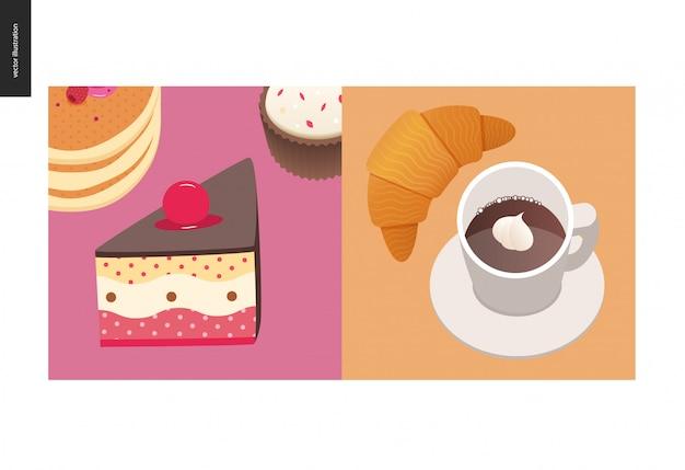 Ilustracja Ciasto Z Wiśni Na Górze, Stos Amerykańskich Naleśników Z Jagodami Premium Wektorów