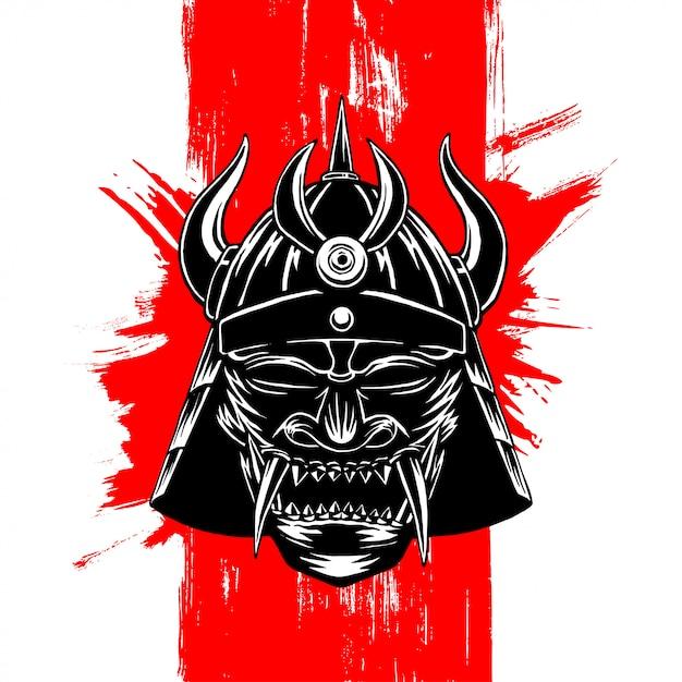 Ilustracja ciemna maska samuraja Premium Wektorów