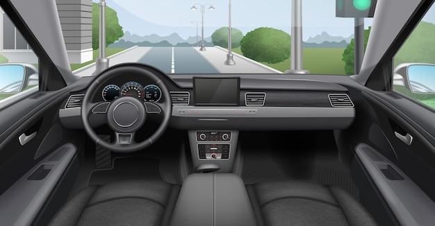 Ilustracja Ciemnego Wnętrza Samochodu Z Przednią Szybą Deski Rozdzielczej Premium Wektorów