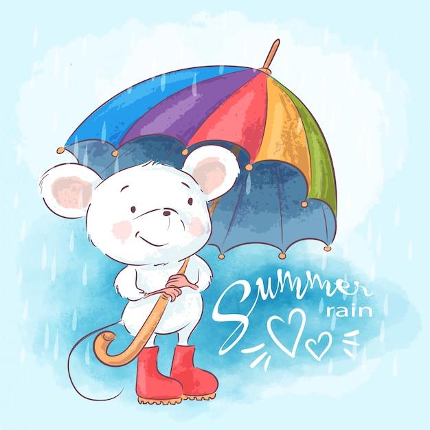 Ilustracja cute cartoon myszy z parasolem Premium Wektorów