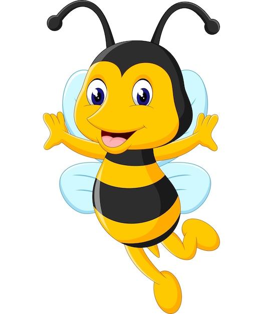 Ilustracja Cute Cartoon Pszczół   Premium Wektor