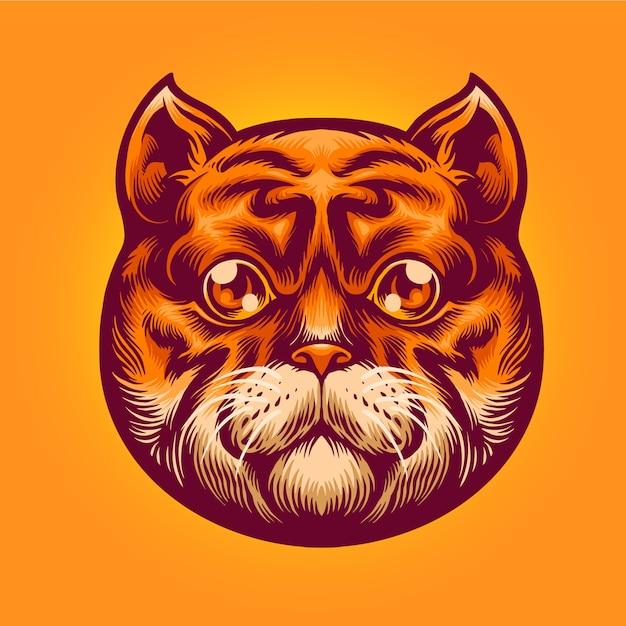 Ilustracja Cute Cat Head Premium Wektorów