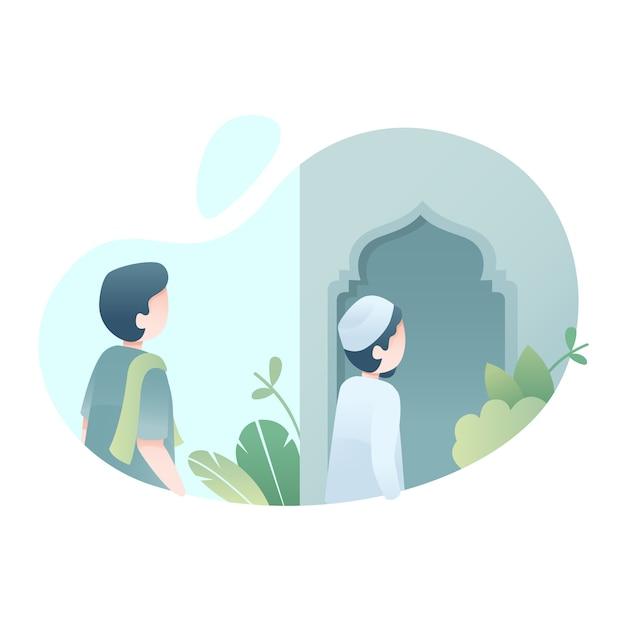 Ilustracja cute eid al adha Premium Wektorów