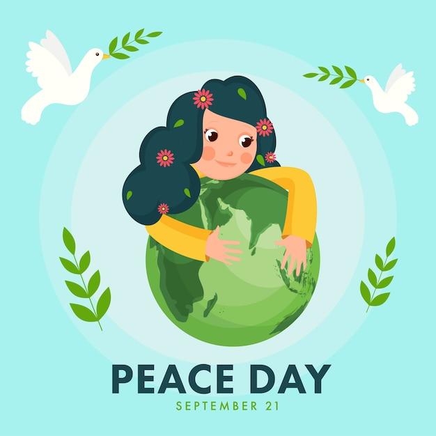 Ilustracja Cute Girl Holding Green Earth Globe Z Fly Gołębie I Liście Oliwne Na Niebieskim Tle Na Dzień Pokoju. Premium Wektorów