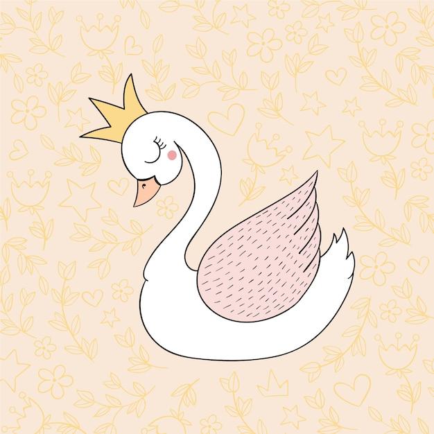 Ilustracja Cute Księżniczka łabędź Darmowych Wektorów
