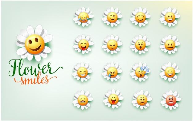 Ilustracja Cute Kwiat Uśmiecha. Zestaw Wyrazu Twarzy Kwiatu Premium Wektorów