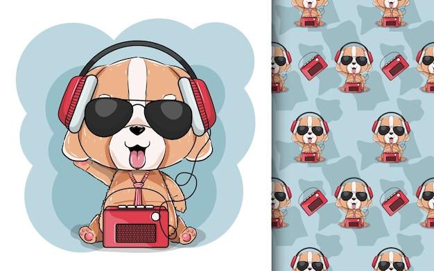Ilustracja Cute Szczeniaka Ze Słuchawkami I Radiem. Premium Wektorów
