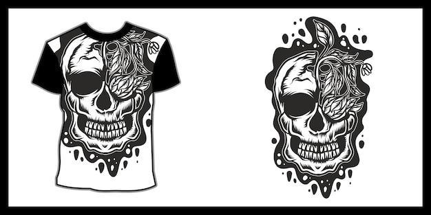 Ilustracja Czaszki Dla T Shirt Design Premium Wektorów