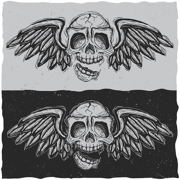 Ilustracja Czaszki Ze Skrzydłami Darmowych Wektorów