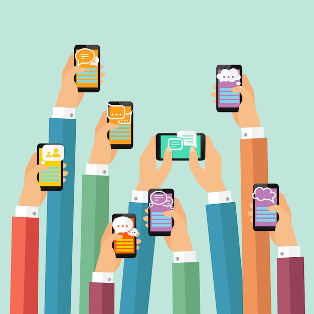 Ilustracja czatu mobilnego Darmowych Wektorów