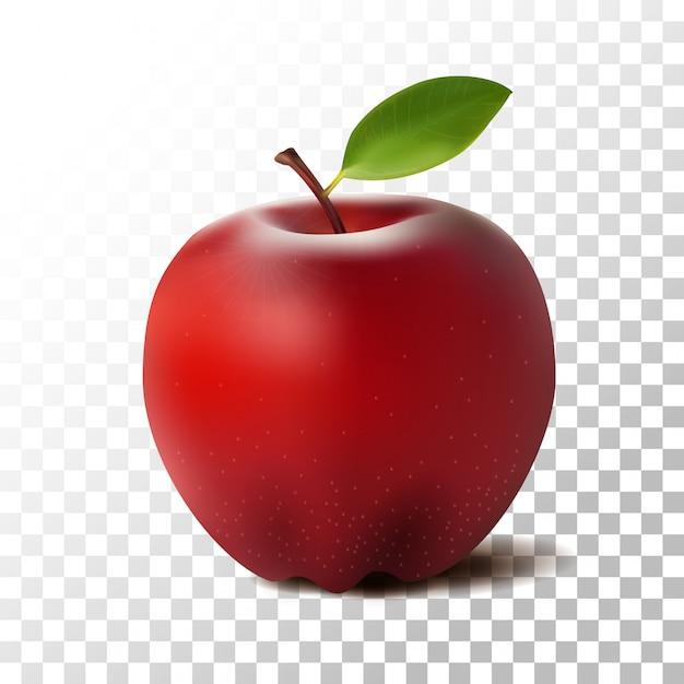Ilustracja czerwone jabłko owoce na przezroczystym Premium Wektorów