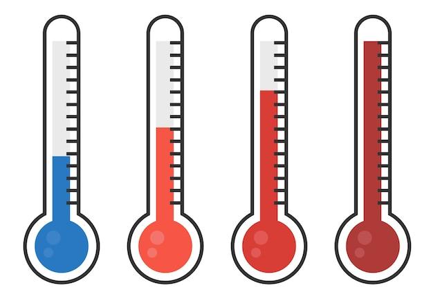 Ilustracja Czerwoni Termometry Z Różnymi Poziomami Premium Wektorów