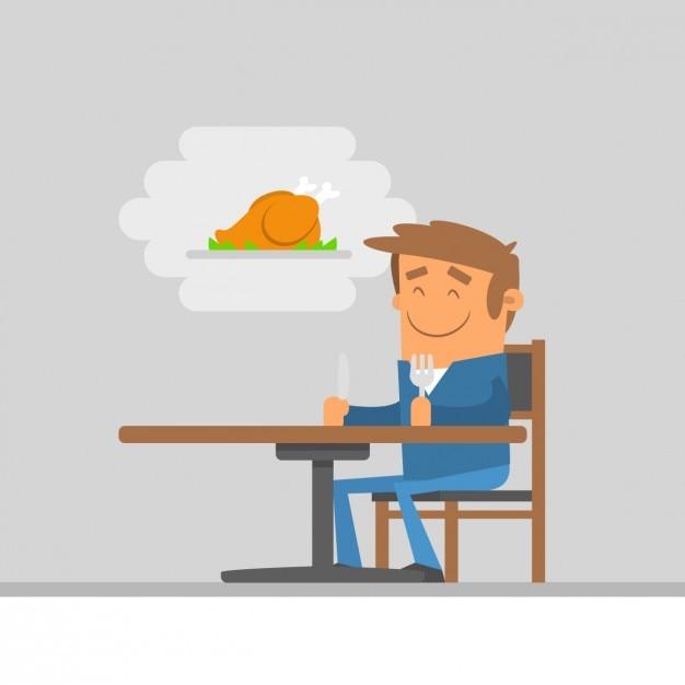 Ilustracja człowiek czeka na jedzenie Darmowych Wektorów