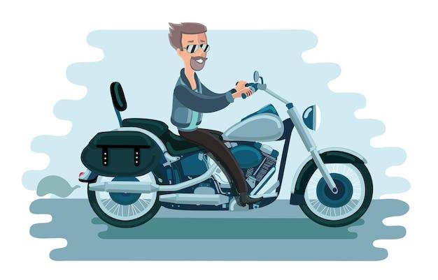 Ilustracja Człowieka Na Motocyklu Starej Szkoły Amerykańskiej Premium Wektorów