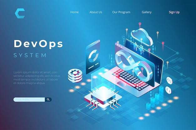 Ilustracja Devops Z Systemem, Programem, Integracją Kodu W Izometrycznym Stylu 3d Premium Wektorów