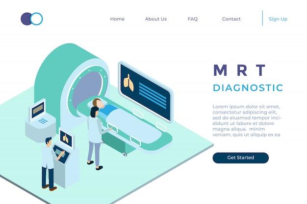 Ilustracja Diagnozy Z Mrt W Izometryczny Styl 3d Premium Wektorów