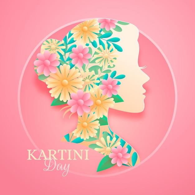Ilustracja Dnia Kartini W Stylu Papieru Darmowych Wektorów