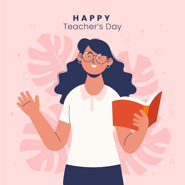 Ilustracja Dnia Nauczycieli Płaski Premium Wektorów