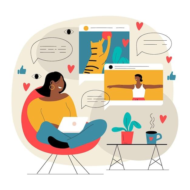 Ilustracja Do Blogowania Wideo Influencerów Premium Wektorów