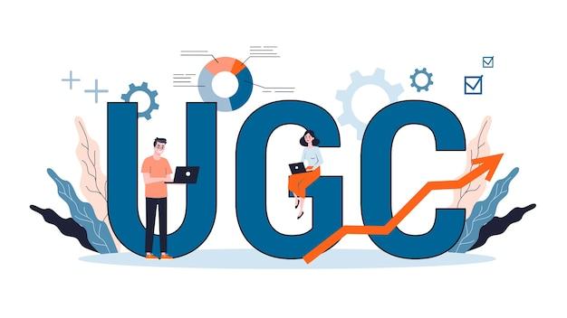 Ilustracja Do Koncepcji Ugc. Kampania Treści Generowanych Przez Użytkowników, Marketing Treści, Komunikacja Medialna, Sieć Społecznościowa. Premium Wektorów