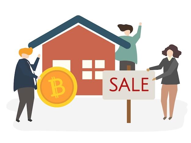Ilustracja dom na sprzedaży Darmowych Wektorów