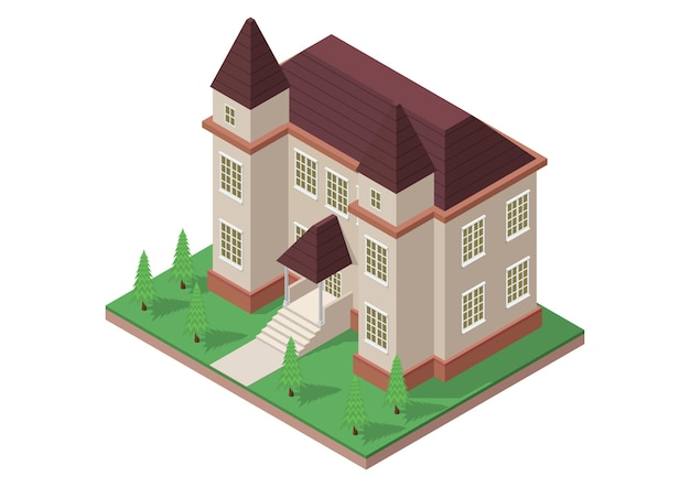 Ilustracja Dom W Stylu Wiktoriańskim Premium Wektorów