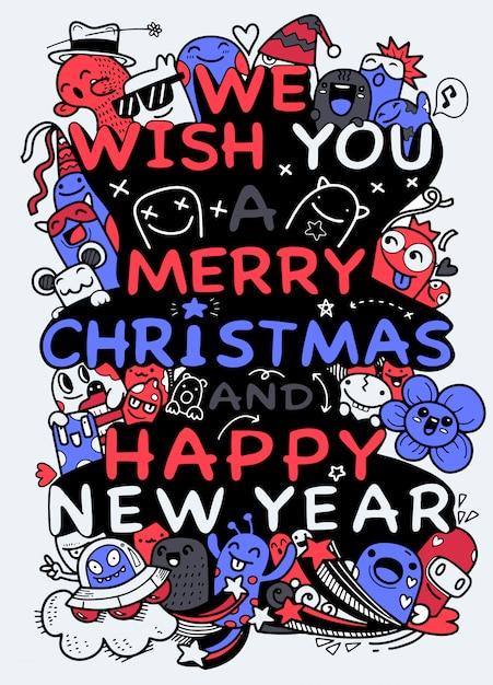 Ilustracja Doodle Boże Narodzenie, Rysunek Odręczny Doodle Premium Wektorów