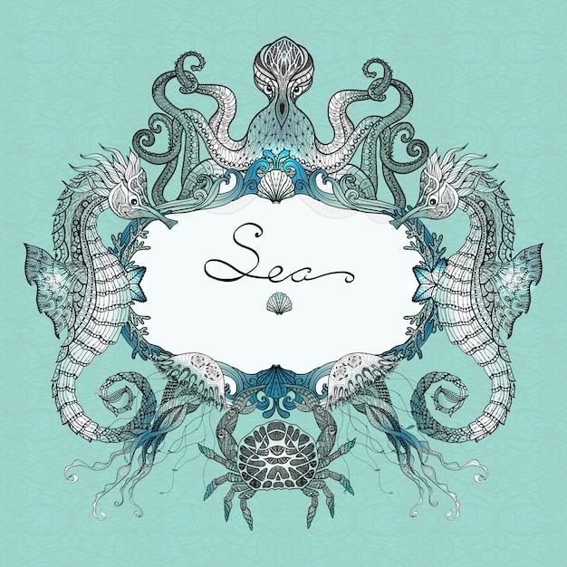 Ilustracja doodle morskie życie Darmowych Wektorów
