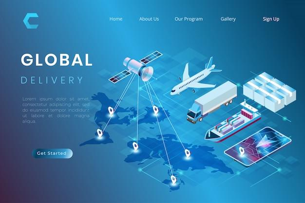 Ilustracja Dostawy Paczki Z Postępem Transportu, Proces Wysyłki Na Cały świat Statkiem, Samolotem, Ciężarówką W Izometrycznym Stylu Ilustracji 3d Premium Wektorów