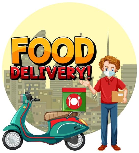 Ilustracja Dostawy żywności Z Człowiekiem Na Rowerze Lub Kurierem Darmowych Wektorów