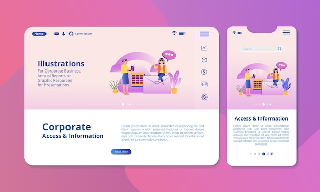 Ilustracja Dostępu I Informacji Na Ekranie Do Wyświetlania W Internecie Lub Na Urządzeniach Mobilnych. Premium Wektorów
