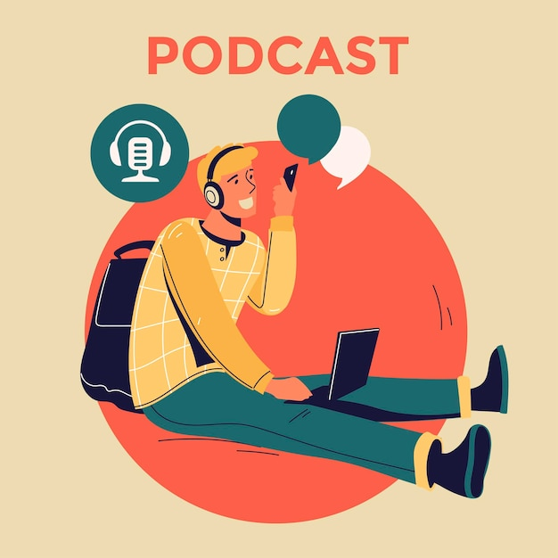 Ilustracja Dotycząca Podcastingu. Ludzie Słuchający Dźwięku W Słuchawkach Premium Wektorów