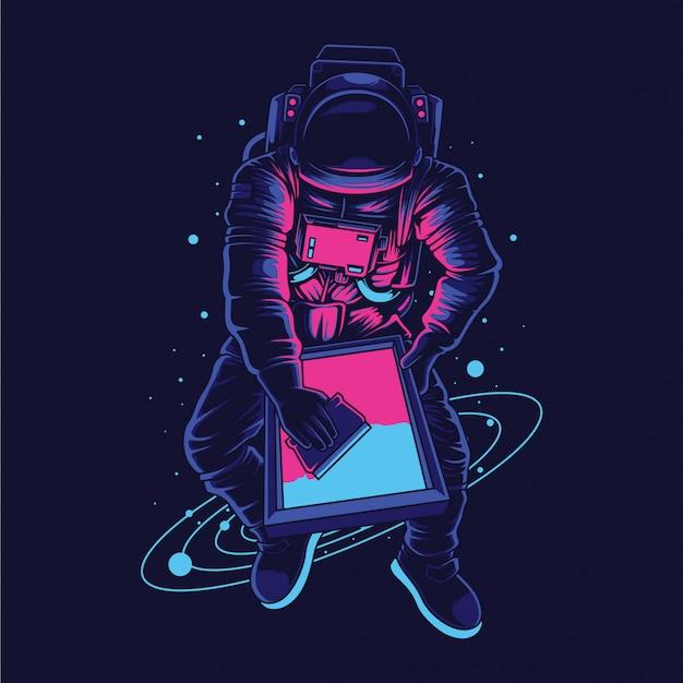 Ilustracja Drukarki Ekranu Astronauta Premium Wektorów