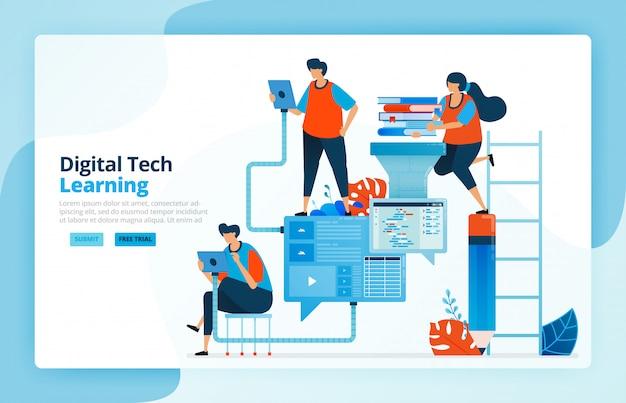 Ilustracja Działań Z Nowoczesnych Procesów Uczenia Się Z Technologią, Wydajnością W Edukacji I Kształceniu Na Odległość. Komunikacja Ucznia. Premium Wektorów