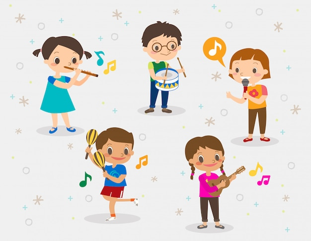 Ilustracja Dzieci Grających Na Różnych Instrumentach Muzycznych ...