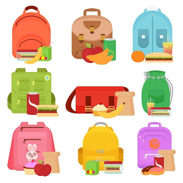 Ilustracja Dzieci W Wieku Szkolnym I Pudełka Na Lunch Premium Wektorów