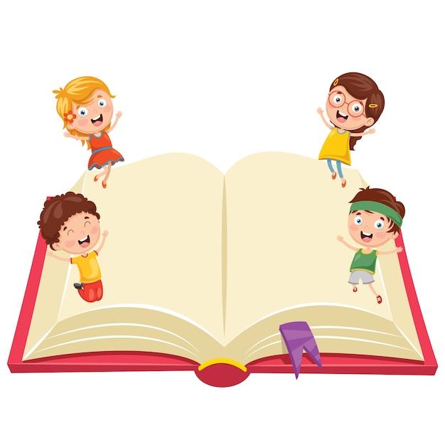 Ilustracja Dzieci Z Książką | Premium Wektor