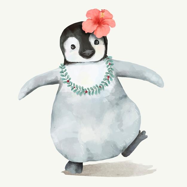 Ilustracja dziecka pingwin Premium Wektorów