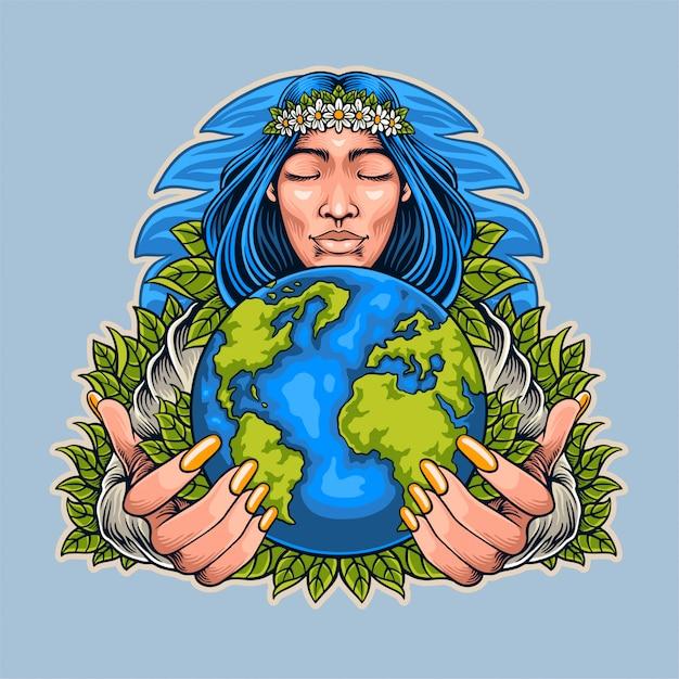 Ilustracja Dzień Matki Ziemi Premium Wektorów