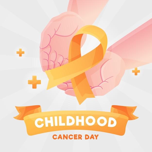 Ilustracja Dzień Raka Dzieciństwa Z Palmami Trzymając Wstążkę Premium Wektorów