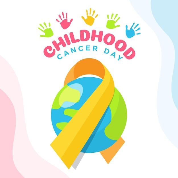 Ilustracja Dzień Raka Dzieciństwa Z Wstążką I Planetą Darmowych Wektorów