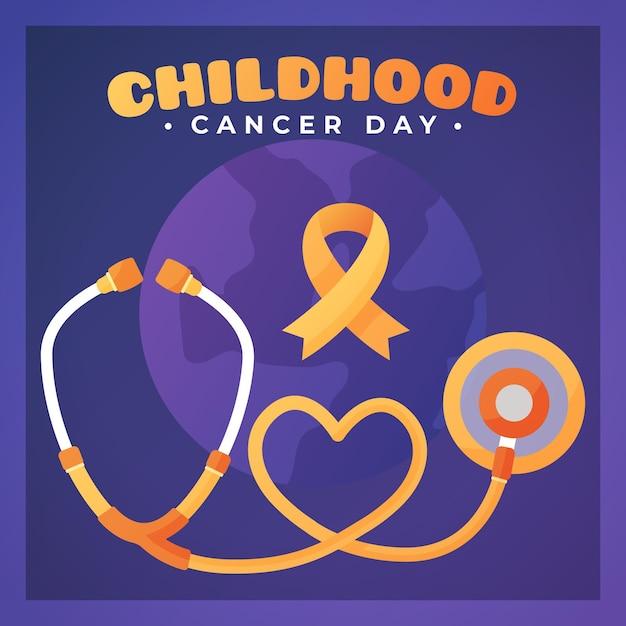 Ilustracja Dzień Raka Dzieciństwa Z Wstążką I Stetoskopem Premium Wektorów